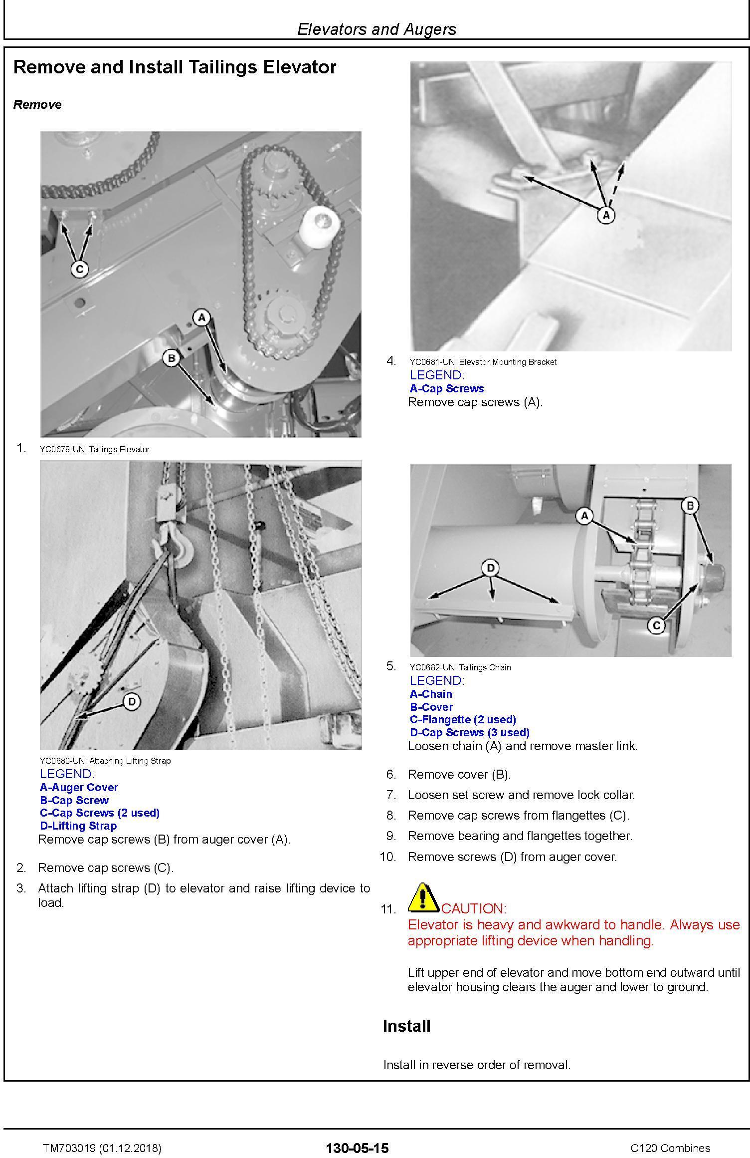 John Deere C120 Combines (Asian Edition) Technical Service Manual (TM703019) - 1