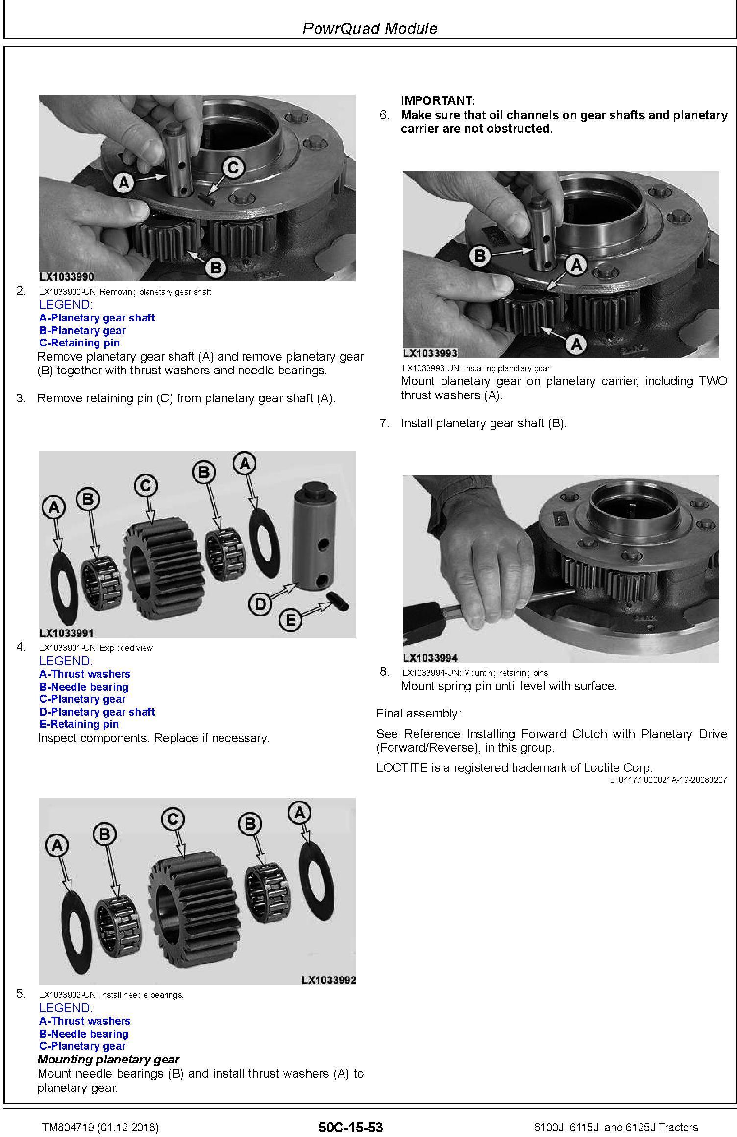 John Deere 6100J, 6115J and 6125J Tractors (SN. 500001-) Repair Technical Service Manual (TM804719) - 2