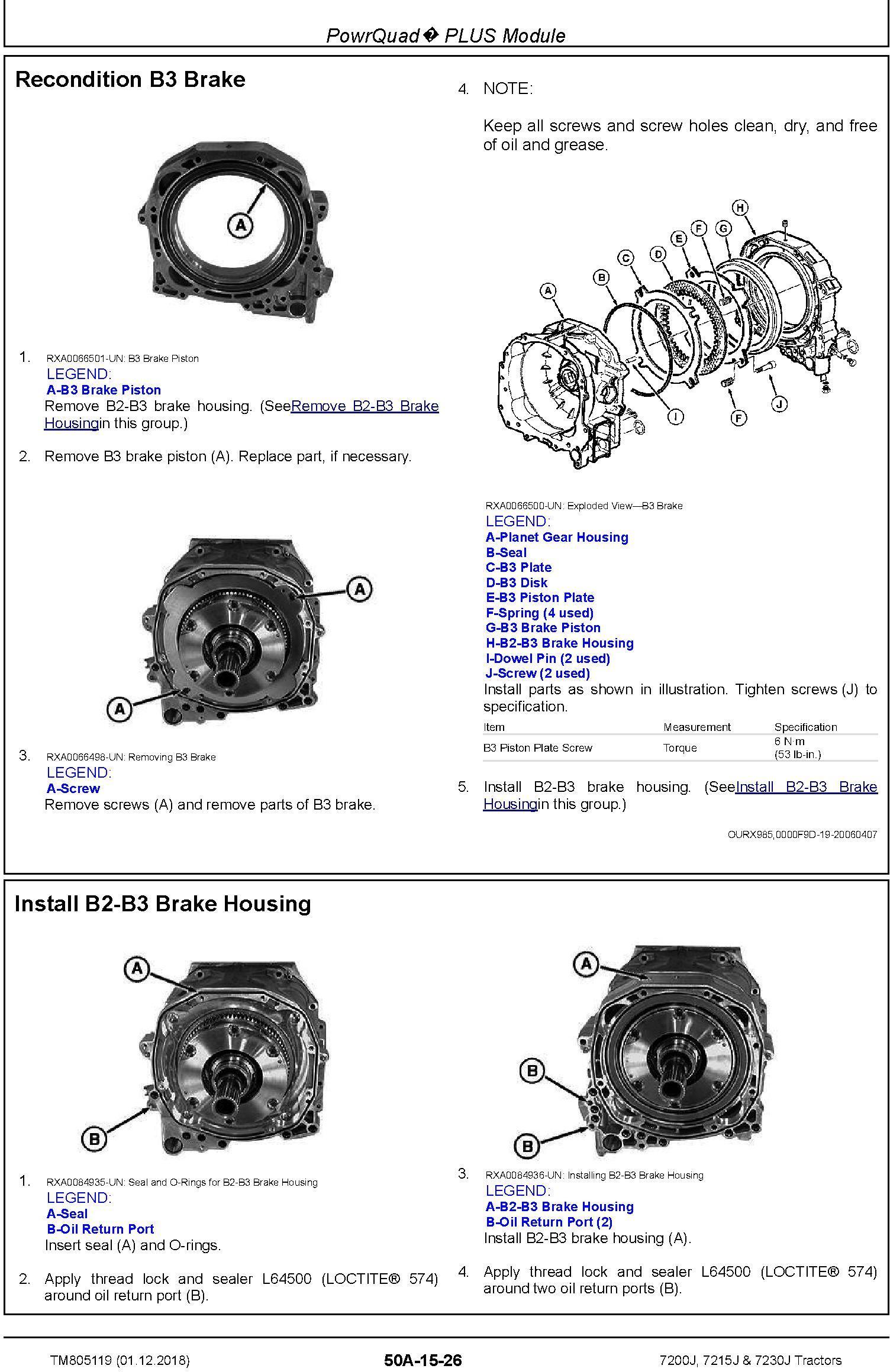 John Deere 7200J, 7215J and 7230J Tractors Service Repair Technical Manual (TM805119) - 2