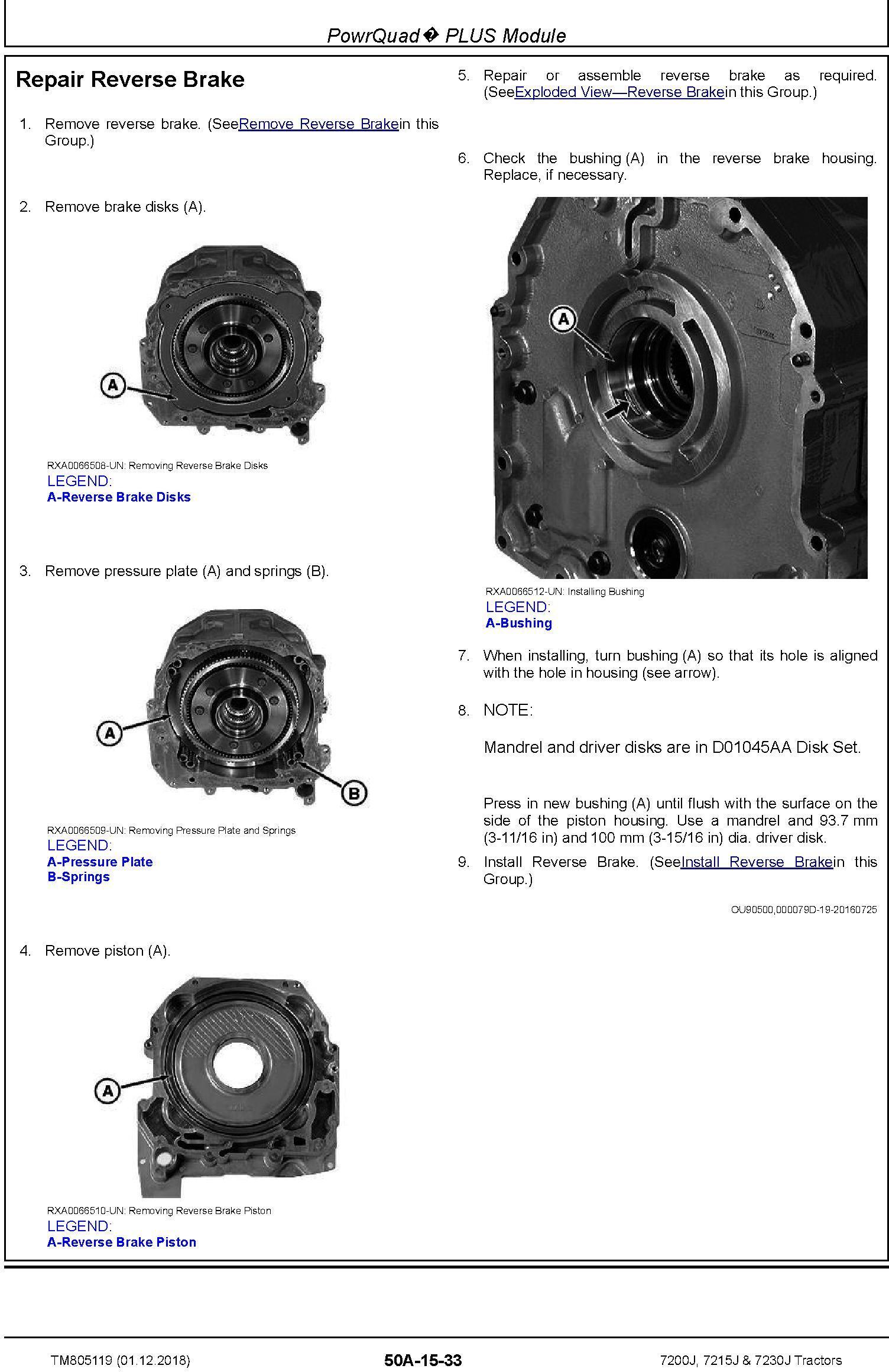 John Deere 7200J, 7215J and 7230J Tractors Service Repair Technical Manual (TM805119) - 1