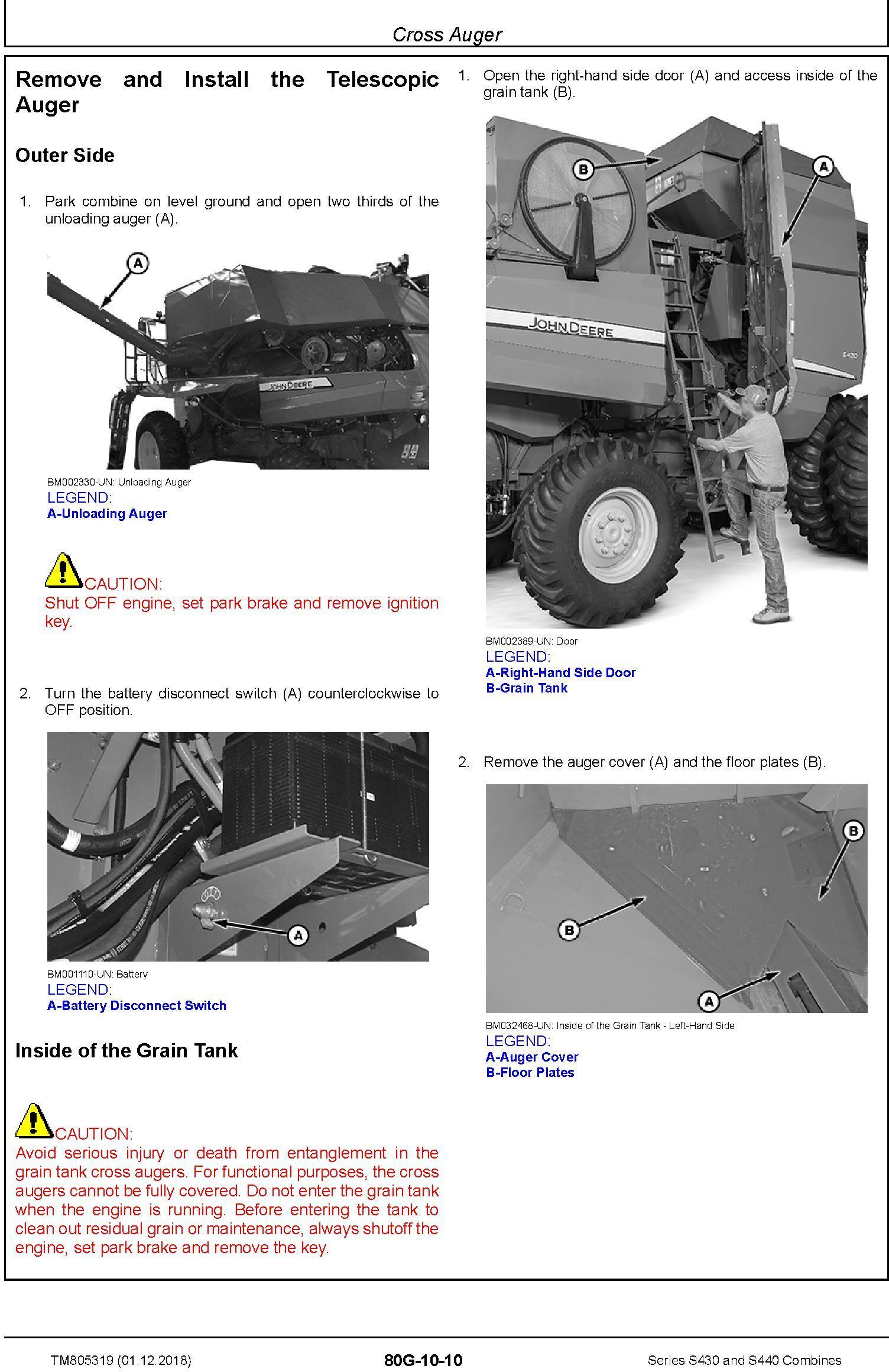 JD John Deere S430 and S440 Combines Repair Technical Service Manual (TM805319) - 1