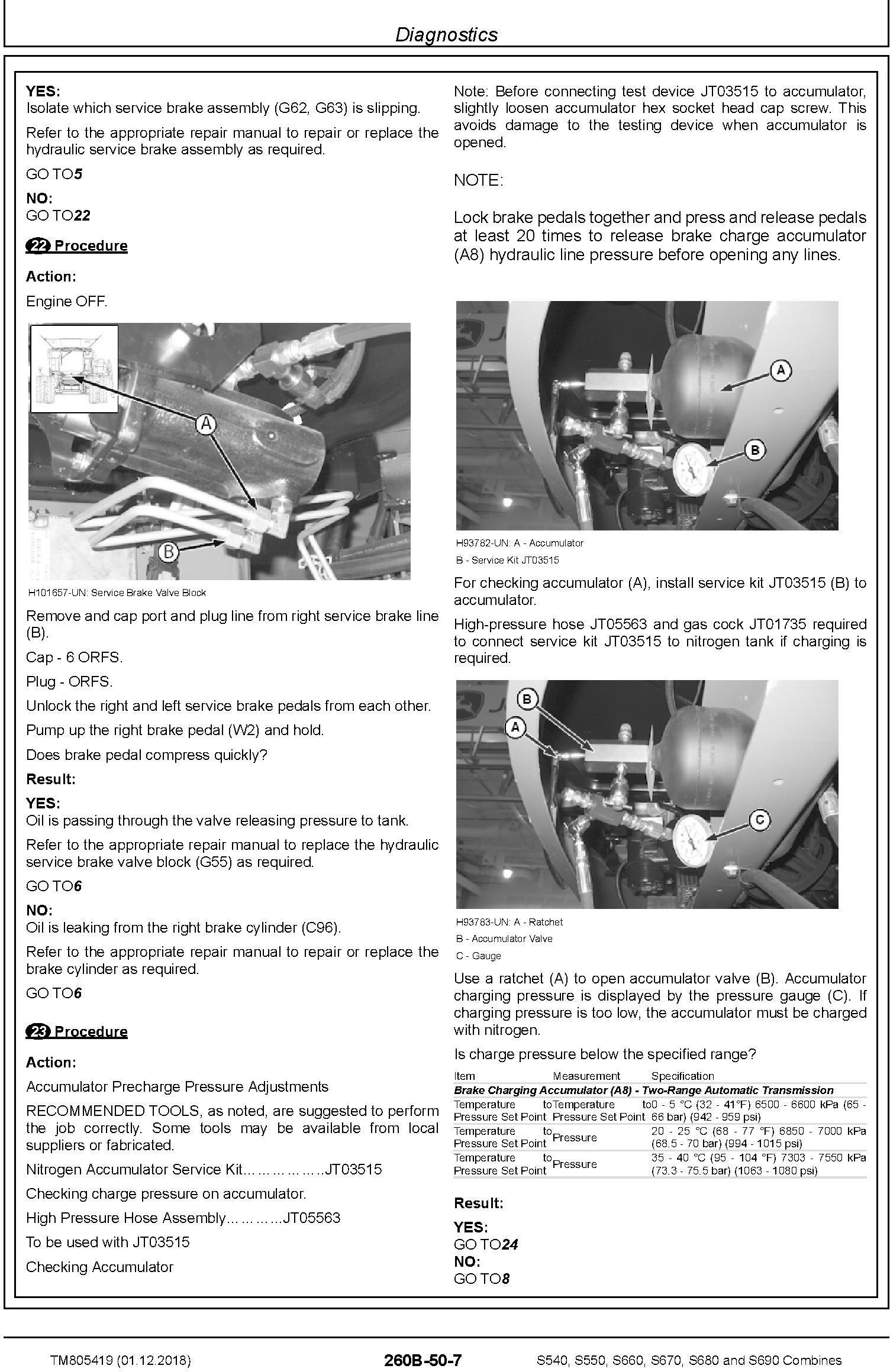 John Deere S540, S550, S660, S670, S680, S690 Combines (SN.120100-) Diagnostic Manual (TM805419) - 2