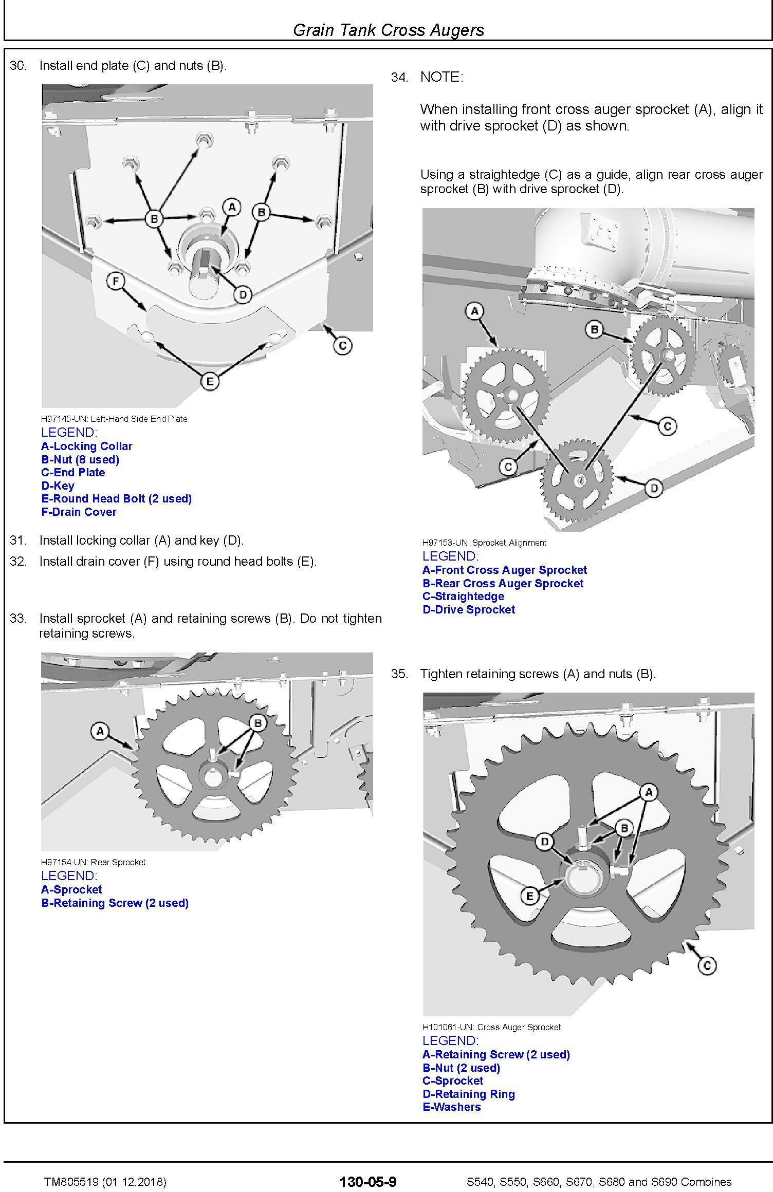 John Deere S540, S550, S660, S670, S680, S690 Combines (SN.120100-) Repair Technical Manual TM805519 - 1