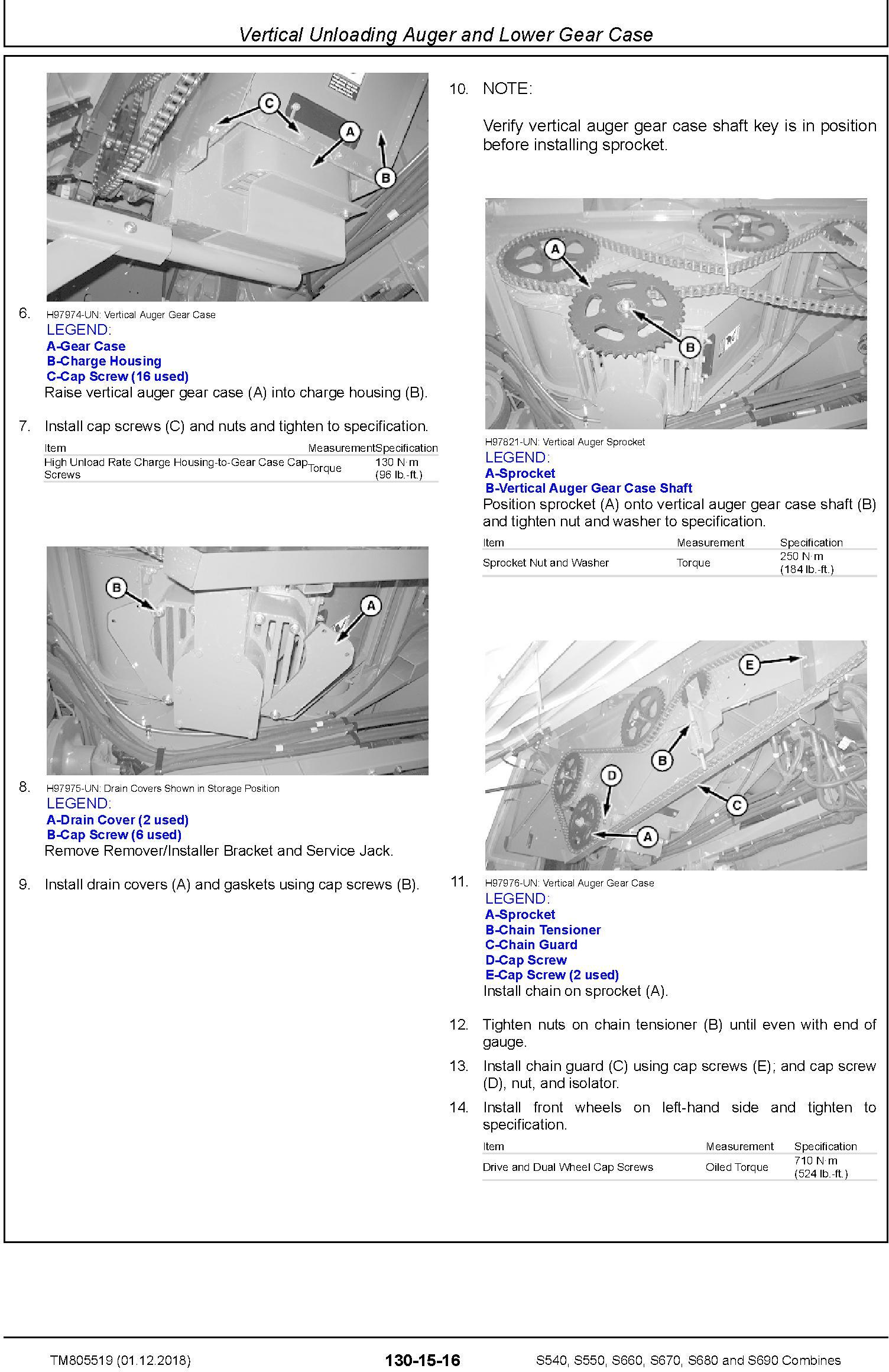 John Deere S540, S550, S660, S670, S680, S690 Combines (SN.120100-) Repair Technical Manual TM805519 - 2