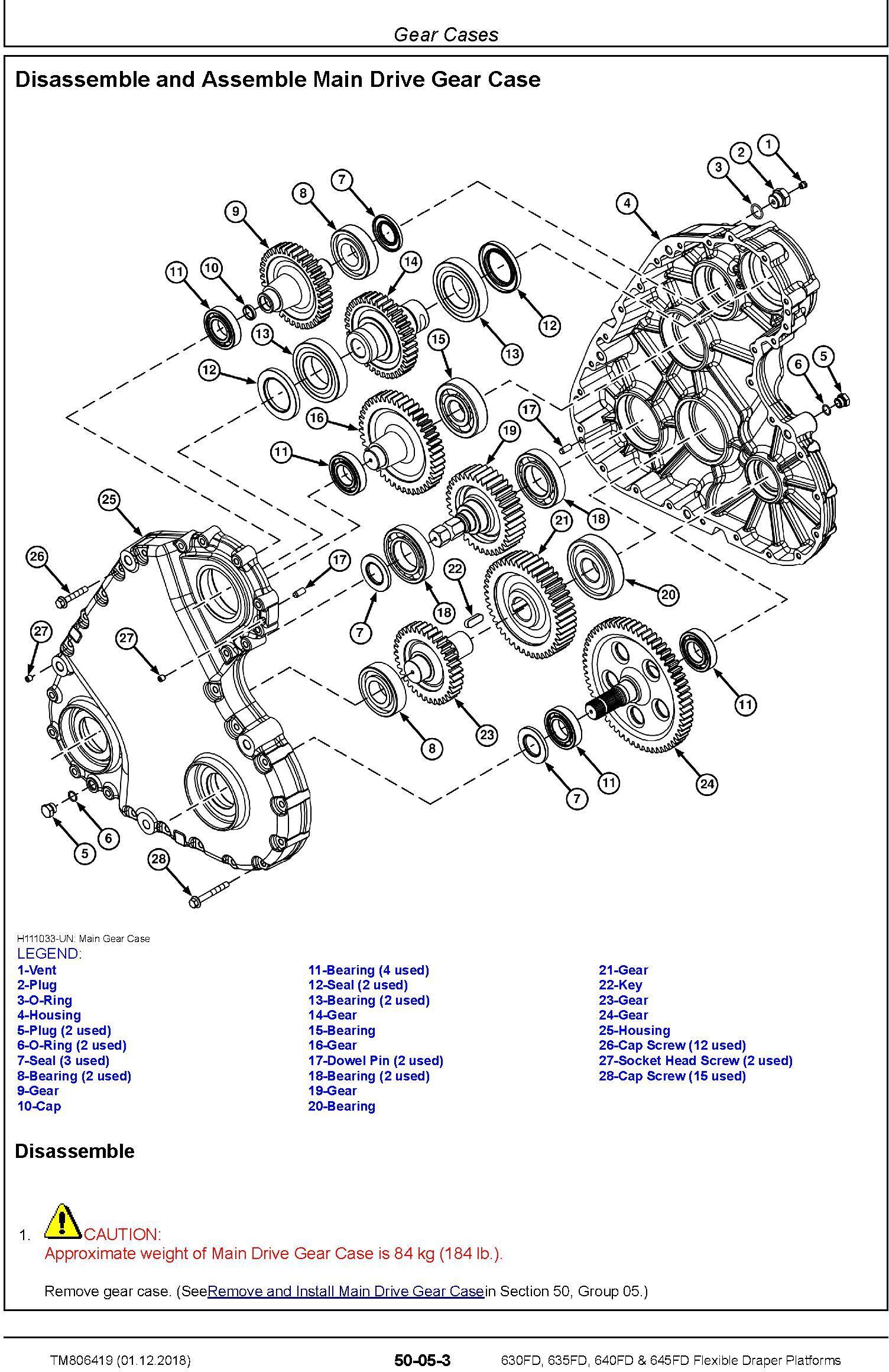 John Deere 630FD, 635FD, 640FD, 645FD Flexible Draper Platform (SN.120100-) Repair Manual (TM806419) - 1