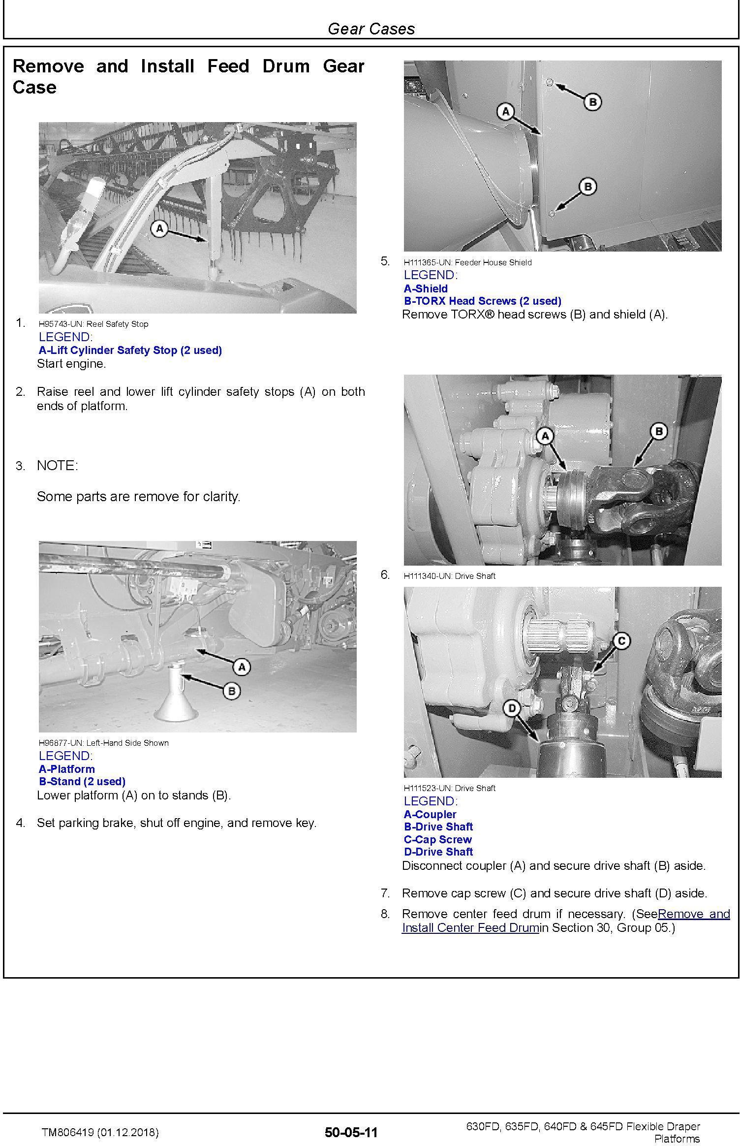 John Deere 630FD, 635FD, 640FD, 645FD Flexible Draper Platform (SN.120100-) Repair Manual (TM806419) - 2