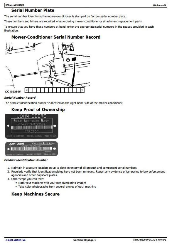 OMFH304530 - John Deere 625, 630, 635 Mower-Conditioners (SN.-370000) Operate and Maintenance Manual - 2