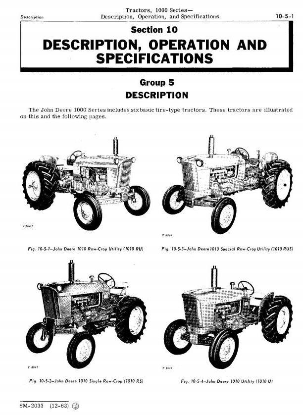 SM2033 - John Deere 1010, 1010RS, 1010RU, 1010RUS, 1010O, 1010U, 1010R Tractors Technical Service Manual - 1
