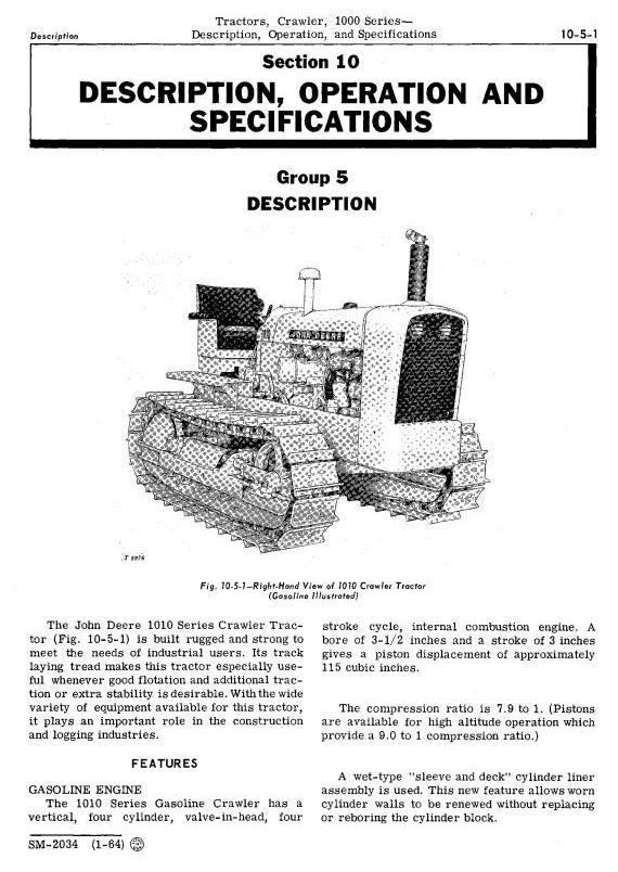 SM2034 - John Deere 1010 Crawler Tractors Technical Service Manual - 1