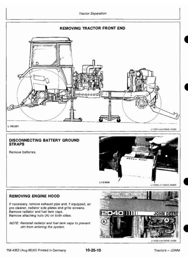 TM4363 - John Deere 1640, 1840, 2040, 2040S Tractors Technical Service Manual - 1